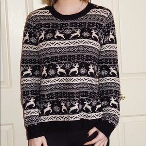 Forever 21 black and white reindeer sweater